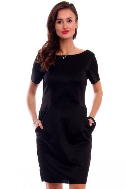 Sukienka tuba z kieszeniami CM547 czarna