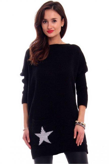 Sweter tunika z gwiazdą CMK2040 czarny