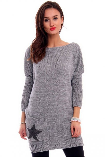 Sweter tunika z gwiazdą CMK2040 szary