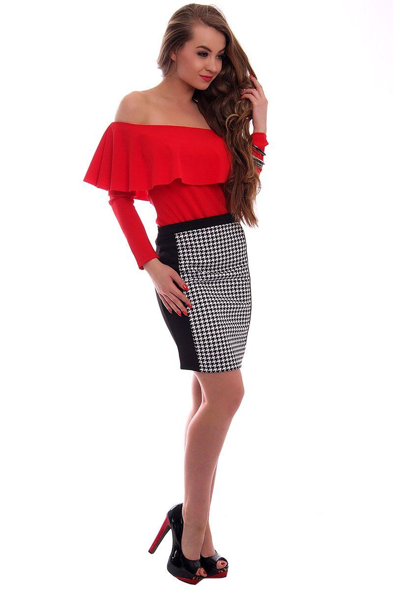 5e9f2bed Spódnica ołówkowa pepitka CM069 szara modna odzież online CosmosModa