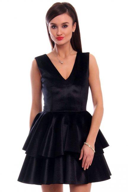 Sukienka z falbanką welurowa CMK301 czarna