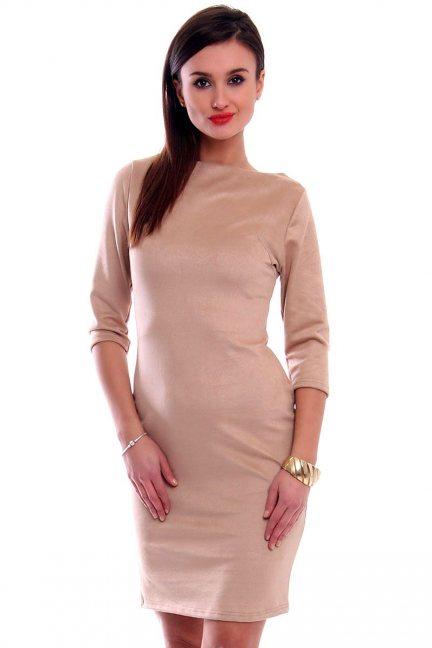 Sukienka zamszowa midi CMK302 beżowa