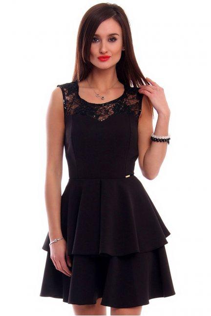 Sukienka falbanki koronka CMK304 czarna