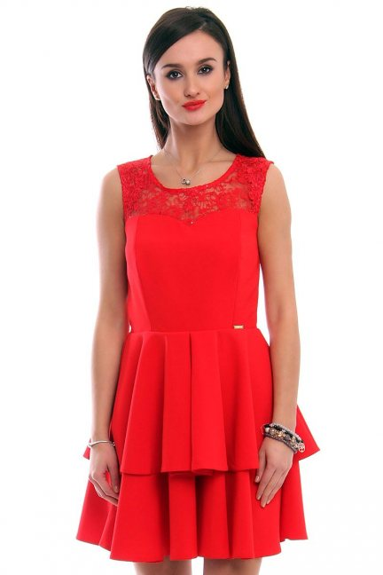 Sukienka falbanki koronka CMK304 czerwona