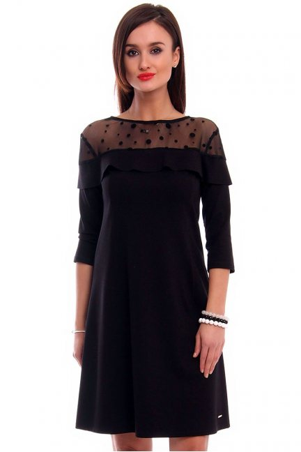 Sukienka trapez z falbanką CMK306 czarna