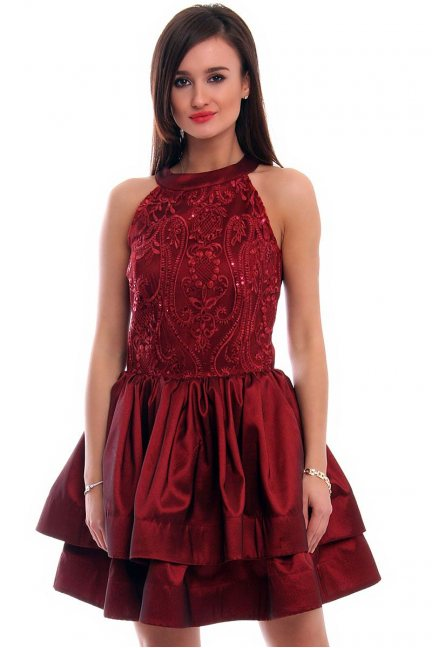 Sukienka rozkloszowana CMK307 bordowa