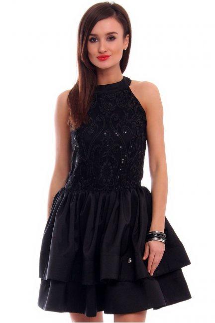 Sukienka rozkloszowana CMK307 czarna