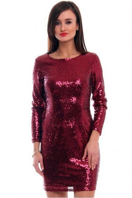 Sukienka mini cekiny CMK308 bordowa