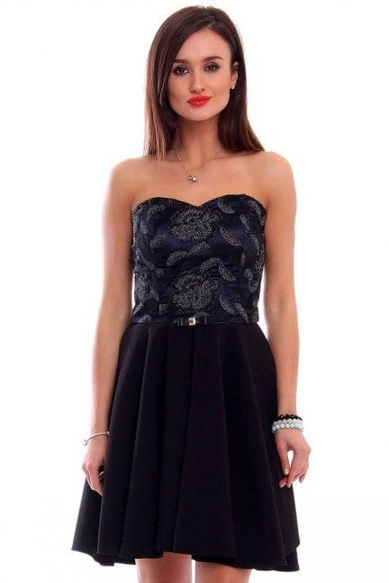 Sukienka gorset z koronki CMK309 czarna