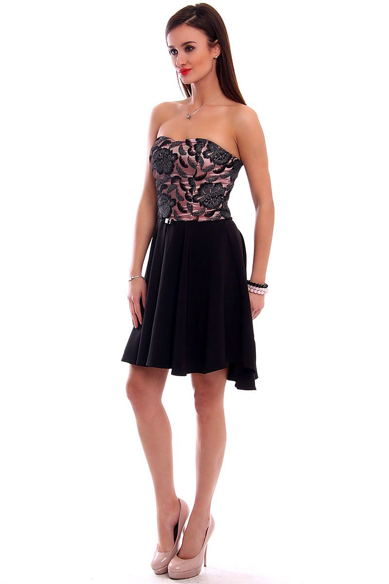 142c9d19c6c392 Sukienka gorset z koronki CMK309 czarna modne sukienki CosmosModa