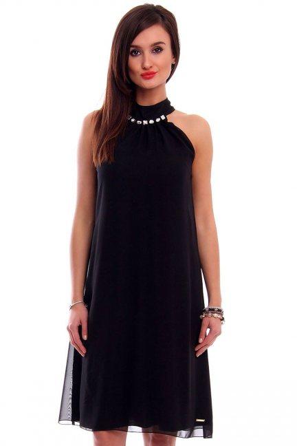 Sukienka trapezowa z szyfonu CMK312 czarna