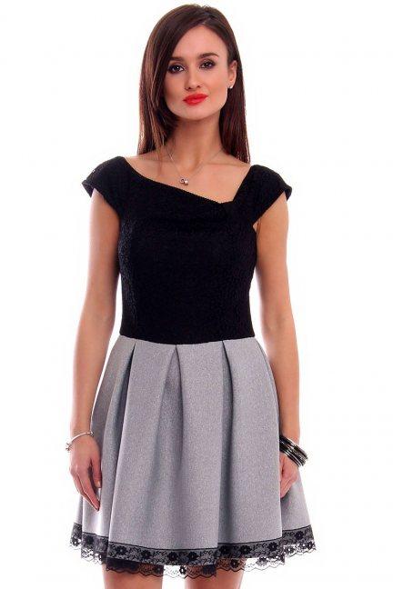Sukienka zakładki pianka CMK313 czarna