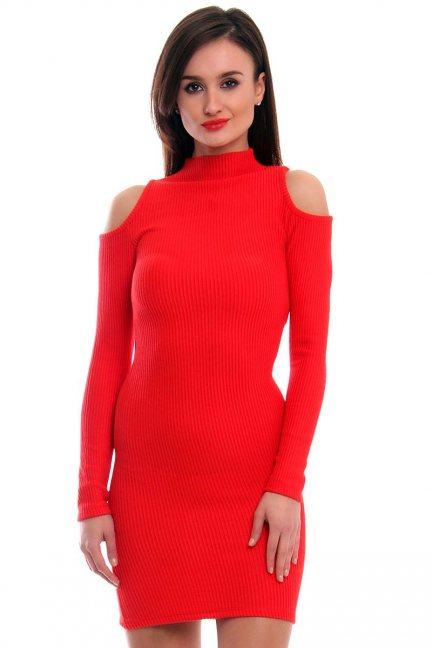 Sukienka odkryte ramiona CMK314 czerwona