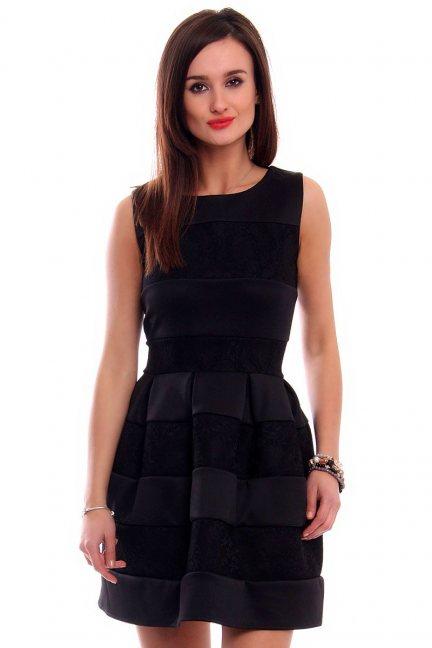 Sukienka zakładki koronka CMK315 czarna