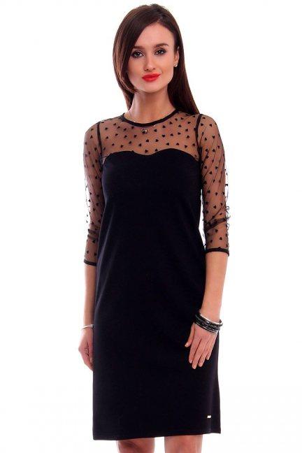 Sukienka trapez z tiulem CMK316 czarna
