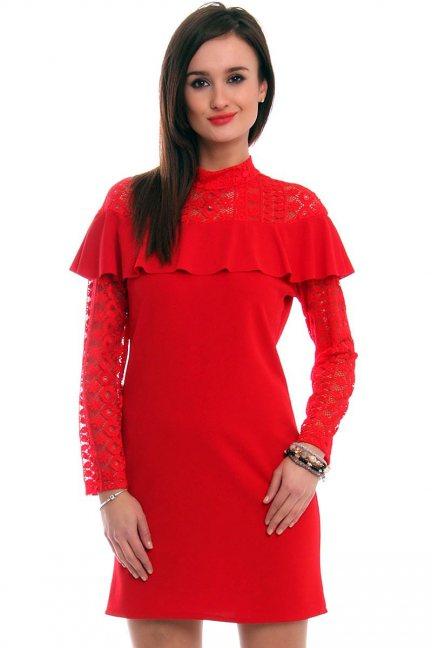 Sukienka ołówkowa koronka CMK317 czerwona