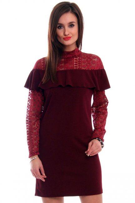 Sukienka ołówkowa koronka CMK317 bordowa