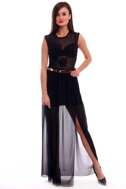 Sukienka szyfon wzór maxi CMK318 czarna