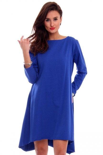 Sukienka asymetryczna CM189 chabrowa