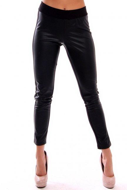 Spodnie legginsy skórzane CM0252 czarne