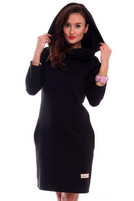 Sukienka z kominem golf CM406 czarna