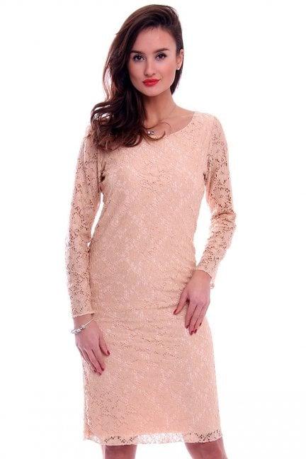Sukienka koronkowa midi CM514 beżowa
