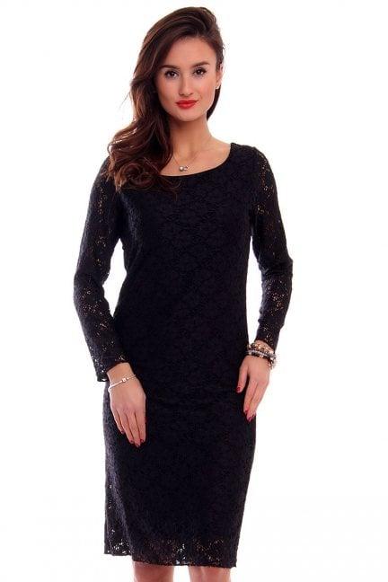 Sukienka koronkowa midi CM514 czarna