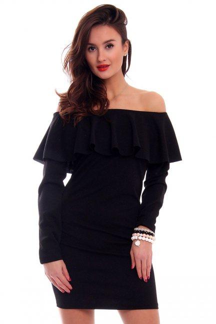 Sukienka hiszpanka mini CMK290 czarna