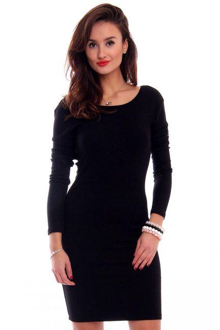 Sukienka odkryte plecy CMK291 czarna
