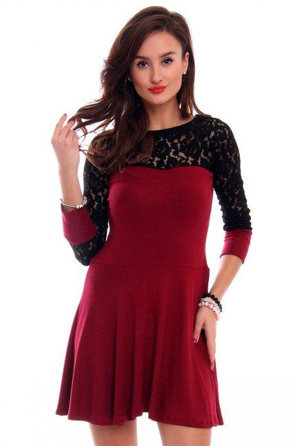 Sukienka klosz z koronką CMK292 czerwona