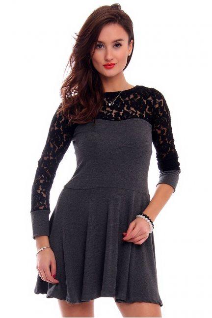 Sukienka klosz z koronką CMK292 grafitowa