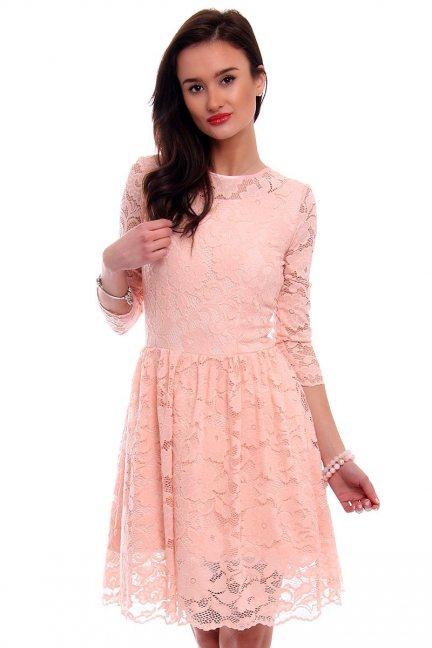 Sukienka rozkloszowana CM549 różowa