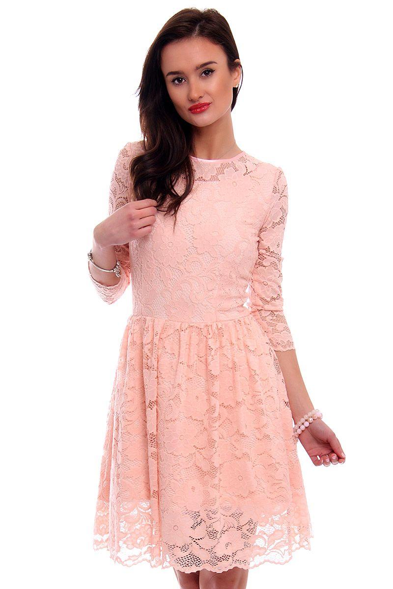 1bc0bd7195 Sukienka rozkloszowana CM549 różowa  Sukienka koronkowa na wesele  Koronkowe  sukienki ...