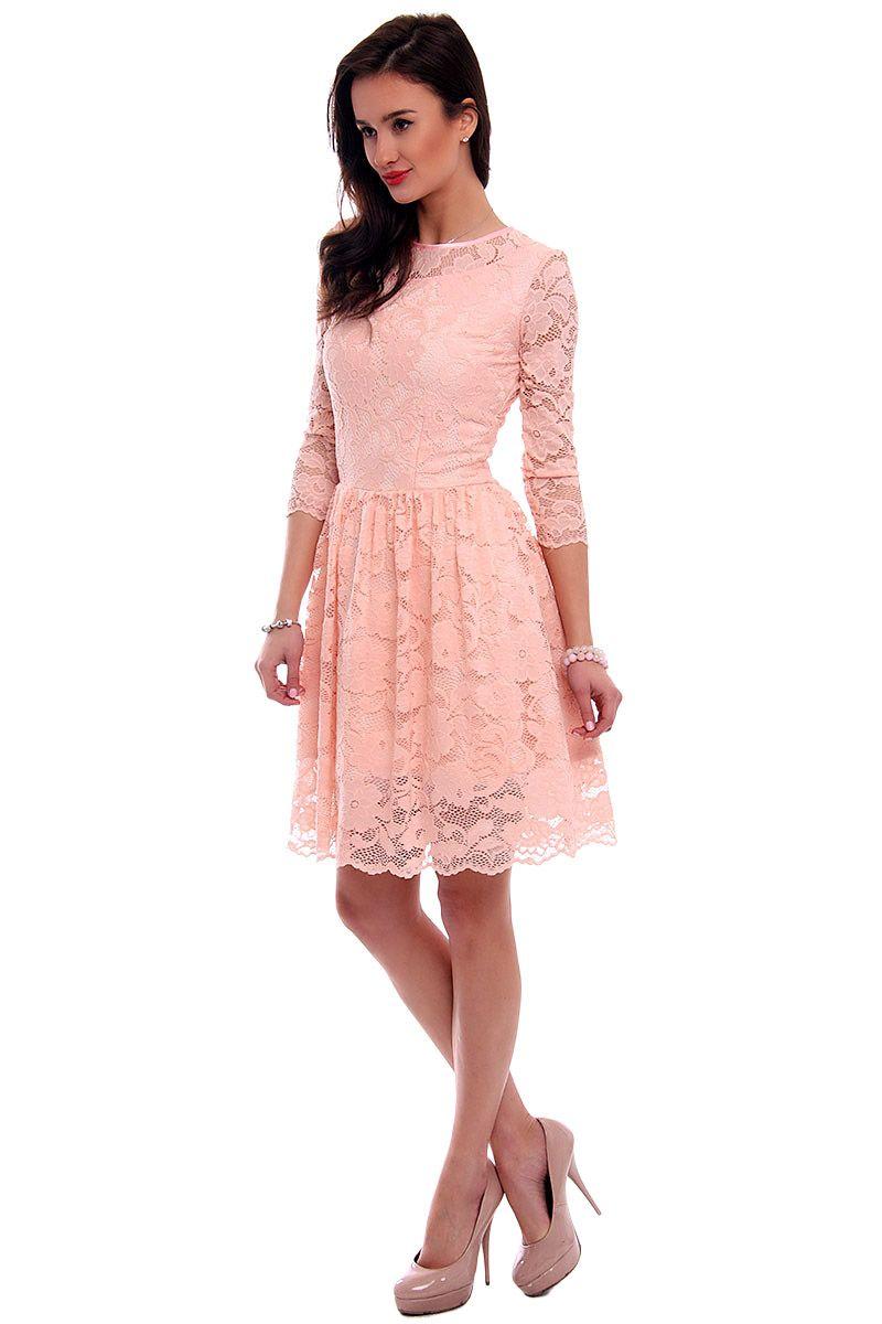 4f03df7002 Sukienka rozkloszowana CM549 różowa  Sukienka koronkowa na wesele  Koronkowe  sukienki na wesele ...