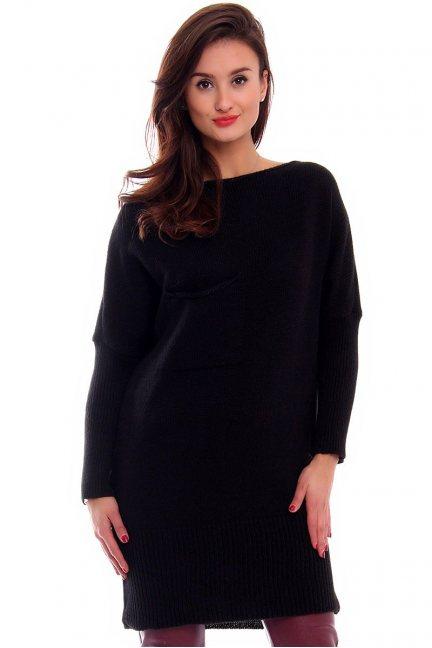 Sweter tunika z kokardką CMK293 czarny