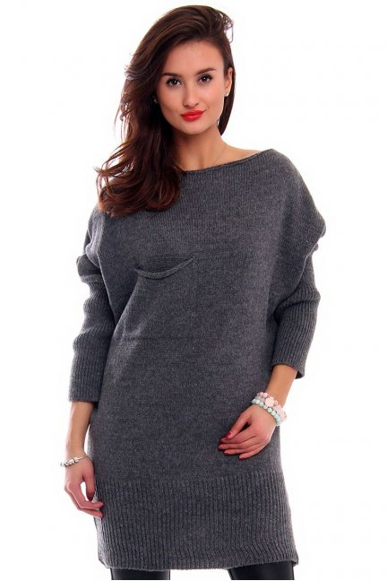 Sweter tunika z kokardką CMK293 grafitowy