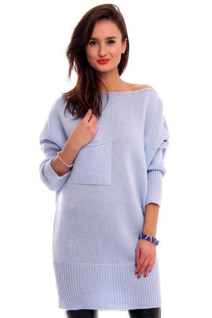 Sweter tunika z kokardką CMK293 błękitny