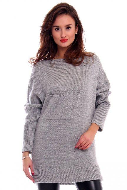 Sweter tunika z kokardką CMK293 szary