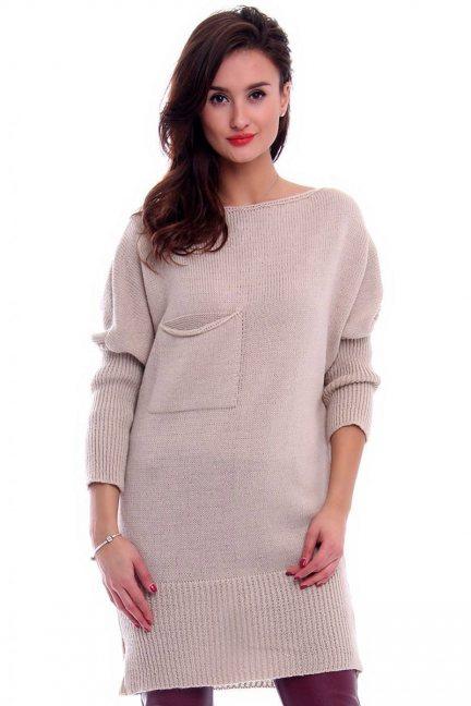 Sweter tunika z kokardką CMK293 beżowy