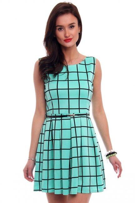 Sukienka elegancka w kratkę CM100 miętowa