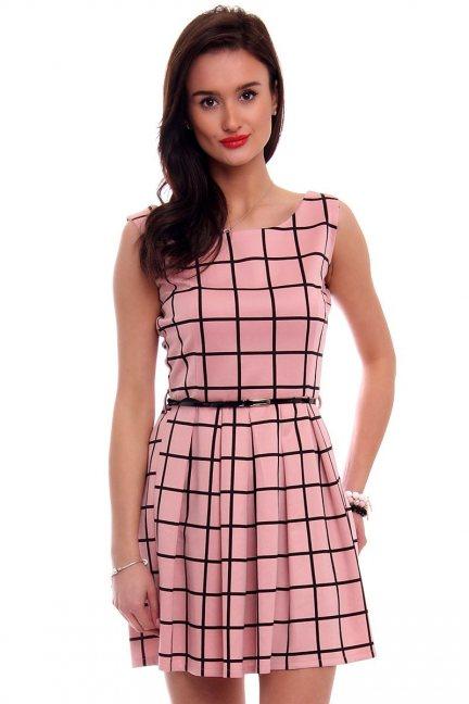 Sukienka elegancka w kratkę CM100 różowa
