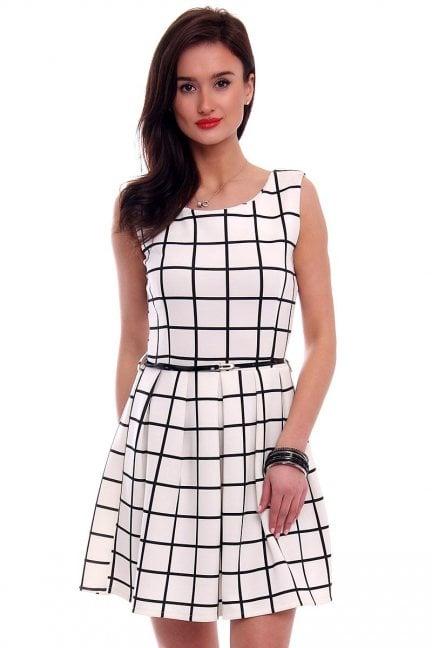 Sukienka elegancka w kratkę CM100 ecru