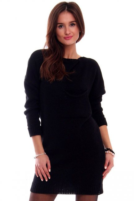 Tunika sukienka sweter CMK2041 czarna