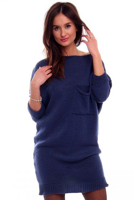 Tunika sukienka sweter CMK2041 granatowa