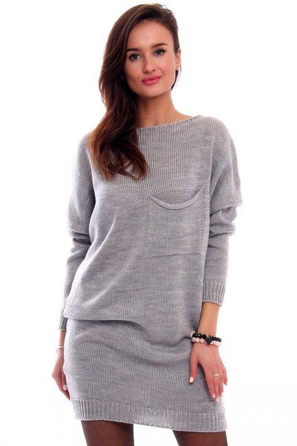 Tunika sukienka sweter CMK2041 szara