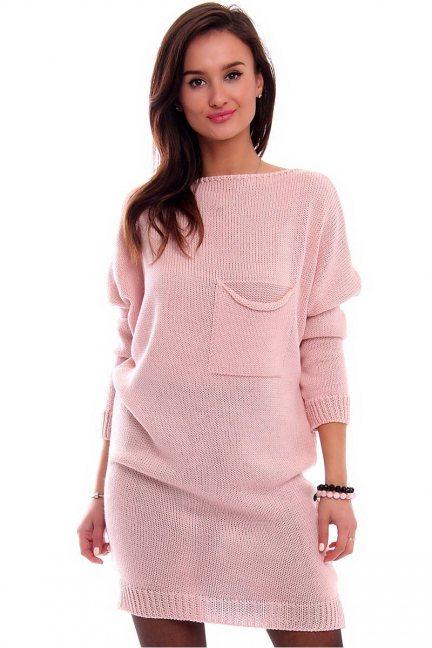 Tunika sukienka sweter CMK2041 różowa