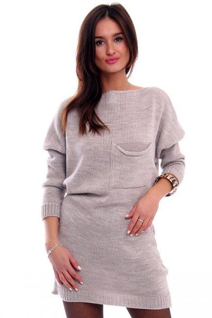 Tunika sukienka sweter CMK2041 beżowa
