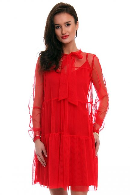 Sukienka elegancka z szyfonu CM563 czerwona