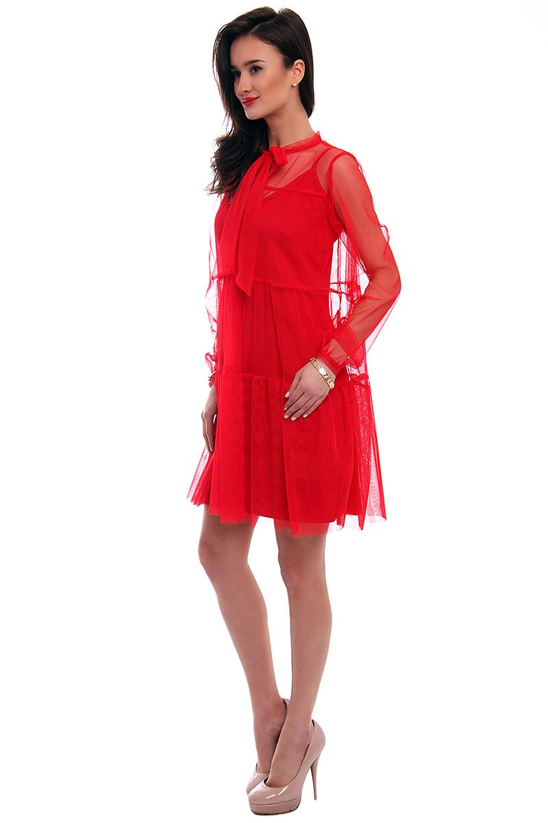 Sukienka elegancka z szyfonu CM563 czerwona sukienki sklep