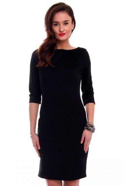 Sukienka zamszowa midi CMK302 czarna